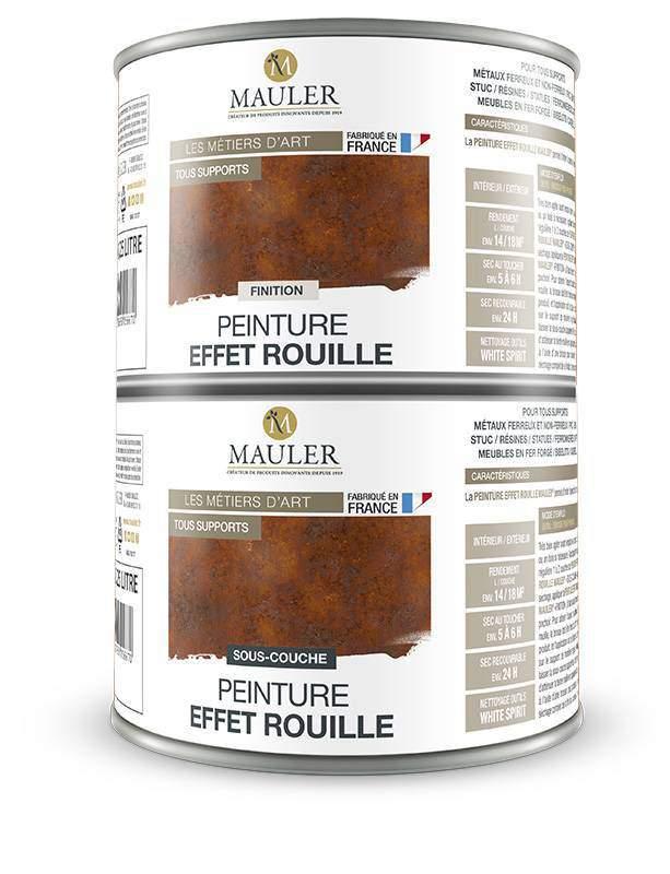 Peinture effet rouille multi support mauler fer bois for Peinture effet rouille